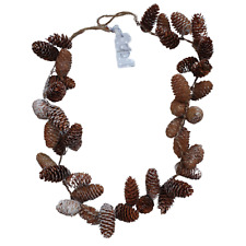Natural Fir Cone with Glitter Christmas Garland - 120cm