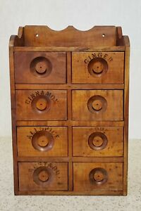 CABINET-ANTIQUE HANDMADE WOOD - ORGANIZER FOR SMALL PARTS--SPICES, SEWING ROOM