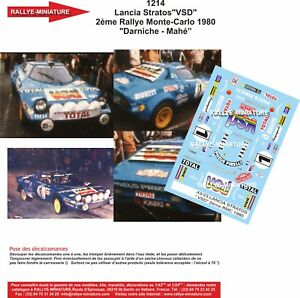 Decals 1/10 Ref 1214 Lancia Stratos Darniche Rally Mounted Carlo 1980 Rally WRC