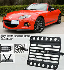 For 09-Up Mazda MX-5 NC Miata Front Bumper Tow Hook License Plate Bracket Mount
