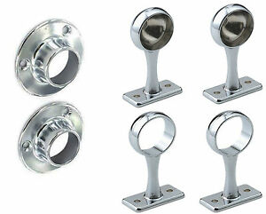 New Chrome Rail Wardrobe Fitting Tube Hanging Bracket Centre End Brackets 19mm