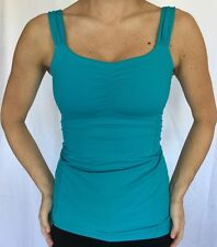 LULULEMON Size 4 Aria Tank Yoga Ruched Bra Top Low Cut Back Turquoise Blue EUC