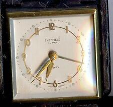 Vintage German SHEFFIELD  travel alarm clock .Folding case .  working