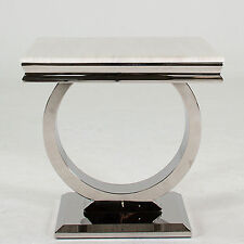 New Stunning Rani Marble & Chrome `O` Lamp End Table