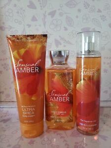 Bath & Body Works SENSUAL AMBER  ~ Cream Gel & Mist ~ FREE Shipping