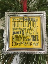 "Harry Potter Hufflepuff Poem Sorting Hat Song Square Silver 3"" Ornament design"