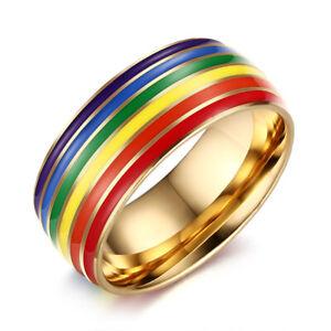 Gay Pride Ring Lesbian LGBT Pride Rainbow Silicone Unisex 8mm Wedding Band