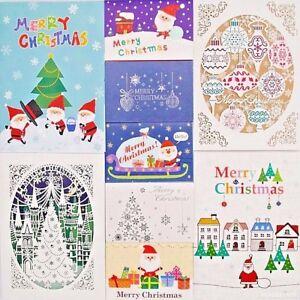 Christmas Xmas Seasonal Holiday Greeting Elegant Cute Gift Cards with Envelope