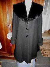 Manteau vintage laine et cachemire noir avec col en fausse fourrure Taille 2