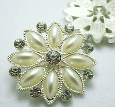 4 Sparkling 30mm Crystal/Rhinestone Silver Metal Pearl Shank Buttons S450