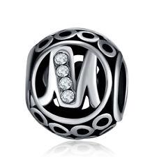 European Silver CZ Letter Charms Beads Pendant Fit 925 Necklace Bracelet Chain