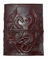 Leather Bound Journal Grimoire Spell Book Shadows Double Dragon Blank Sketchbook