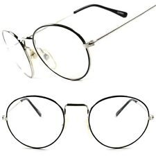 Old Fashioned Vintage Retro 60s Hippie Mens Womens Wire Frame Clear Lens Glasses