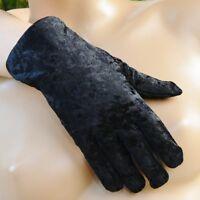 Gants femme effet velours noir élégant taille 6,5 ZAZA2CATS new