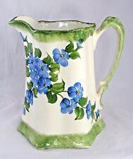"Cash Family Pottery Buttermilk Pitcher  8"" Cream Blue Green 1945 Vintage USA"