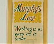 Weve-a-Gift Bookmark Murphys Law Woven Label Vtg