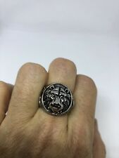 Large Silver Stainless Steel Lion Head Crest Size 11 Men's Ring