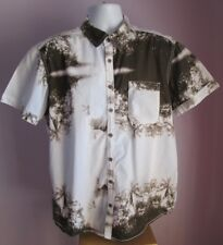 VTG Mens C&A ANGELO LITRICO White/Brown Hawaiian Shirt Size XL Slim Fit  (d2)