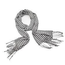 Fashion Black Whtie Houndstooth Print Fringe Soft Cashmere Scarf for Men Women