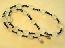""" VENDOME "" Rhinestone Rondel Necklace Black & White Bead"