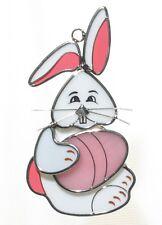 Easter Bunny with Egg Glass Suncatcher