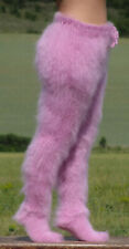 FUZZY LIGHT PINK mohair pants with socks trousers with socks handknit leggings