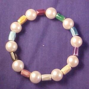 "Simulated Pearls & Multi-Colored Hematite Handmade Beaded Stretch Bracelet 7"""