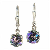 Paradise Shine Purple Chaton Round Stone Earrings with Crystal from Swarovski