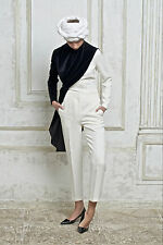 VIKA GAZINSKAYA asymmetric draped layered black velvet and ivory white top 38-F