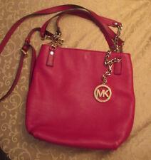 MICHAEL  KORS Red Pebble Leather Crossbody Bag