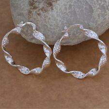 Earrings Hoop Gypsy Retro Twisted Drop Ladies 925 Sterling Silver Large 40,mm