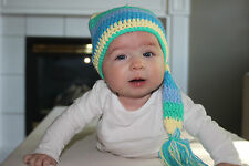 HANDMADE CROCHET KNIT HATS FOR BABIES-BLUE/YELLOW/GREEN STOCKING-SMALL 0-6 MONS
