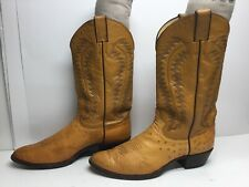 Vtg Mens Justin Cowboy Smooth Ostrich Skin Light Brown Boots Size 11 D