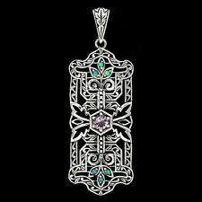 Amethyst & Opal 925 Solid Genuine Sterling Silver Filigree Pendant Jewelry