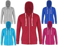 Ladies Long Sleeves Plain Hoodie Women Hooded Sweatshirt Cotton Top 8 10 12 14