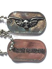 IRON MAIDEN Official Metal Dog Tags + Chain OG 2005 Genuine(NOT shirt patch lp)