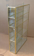 Glass & brass CURIO CABINET for small skinny shot glass display