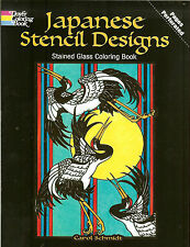 Japanese Stencil Designs Stained Glass Coloring Book from Dover Publications NEW