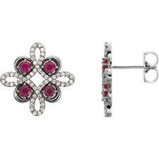 Rubino & 1/4 ct. tw. Orecchini di diamanti in 14k oro bianco