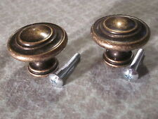 "Sets of 2 Aged Brass Drawer Dresser Cabinet Pulls Knobs Handles 1-3/8"" Dia Round"