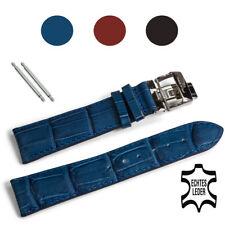 Uhrenarmband 22mm schwarz Leder Faltschließe Edelstahl incl. Federstege Armband