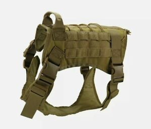Police-K9 Tactical Training Dogs Harness Military Adjustable Molle Nylon Medium