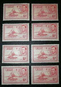 Fiji 1938 1,5d SG 251 Die I mint MH, MLH to barely hinged, 8 pcs