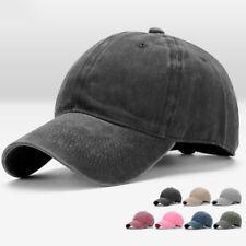 Men Plain Washed Cap Style Adjustable Cotton  Baseball Cap Blank Solid Hat