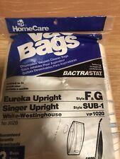 Eureka Style Type F&G Disposable Vacuum Cleaner Dust Bags Singer SUB-1 Bag 3 Pk