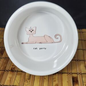 "Signature Party Cat Pet Water Dish Food Bowl ceramic large 6""  Ursula Dodge"