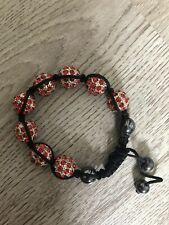 Ladies Red Silver Black Shine Bead Elasticated Bracelet Chambala Style