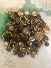 Lot Vintage Gold Goldtone Metal Buttons Buttonhole Shank Crafts Sewing Estate
