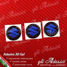 3 Adesivi Resinati SUZUKI 3D Blu 10 mm auto moto