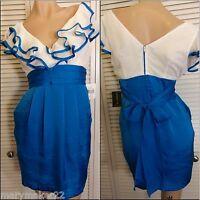 NWT Teeze Me Junior Dress 3/5/9/15 Blue & White Ruffled Sleeveless